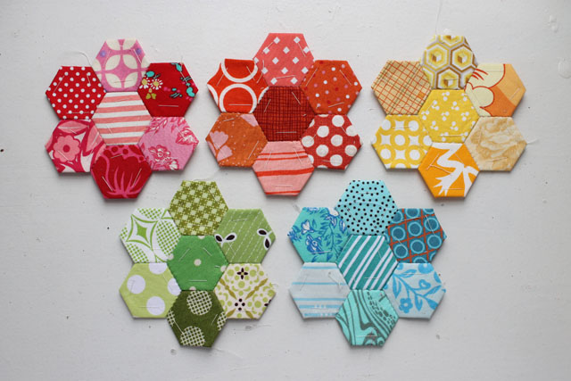 Rainbow Hexagon Flowers
