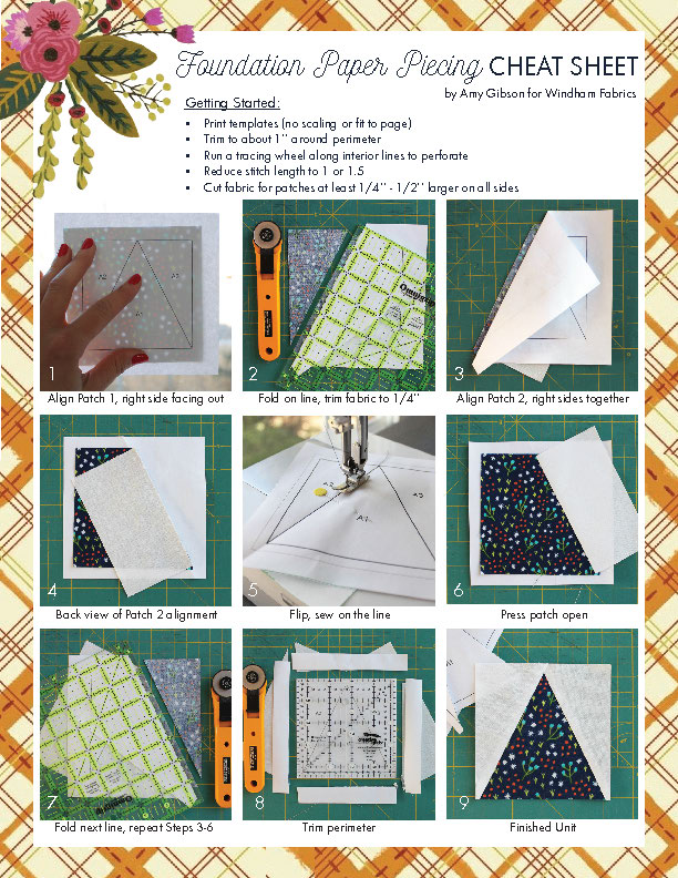 Paper Piecing Cheat Sheet